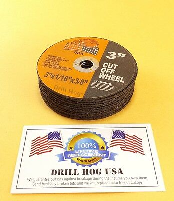Drill Hog Usa 3 Cut Off Wheels 3 Cutting Disc Blade 3 Air Cut Off Tool 10 Pcs