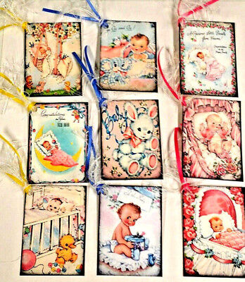 - 9 Baby Shower~Gift Hang Tags~Scrapbooking~Card Craft Making Embellishments