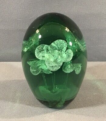 """Hand Blown Green Art Glass Floral 4"""" Paperweight Desk Art Green Floral Glass"""