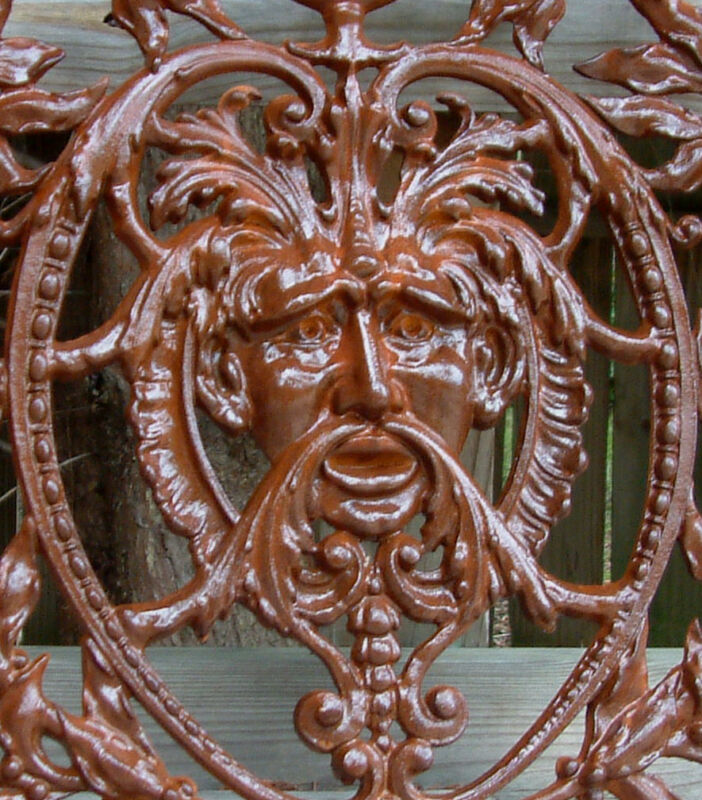 GREEN MAN GRATE Iron Cast  Wrought Crest KING NEPTUNE