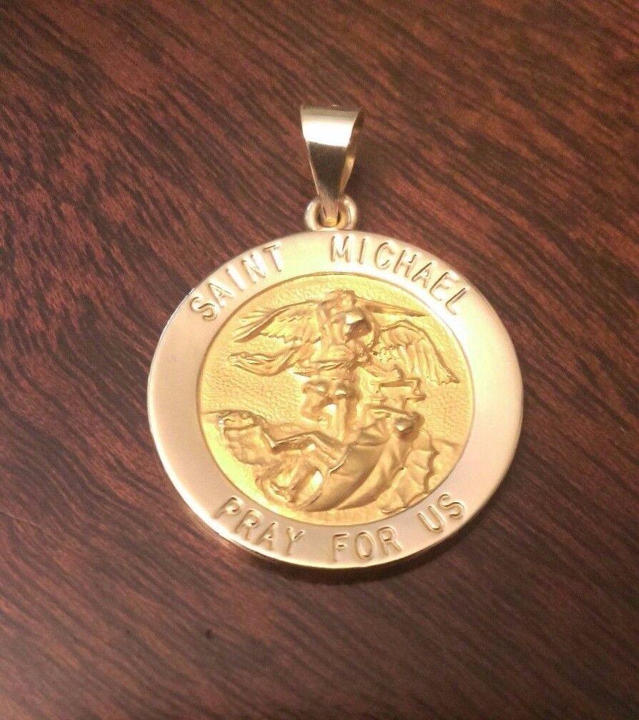 14k yellow gold round saint st michael medal charm pendant 19 14k yellow gold round saint st michael medal charm pendant 19 grams 13 inch aloadofball Images