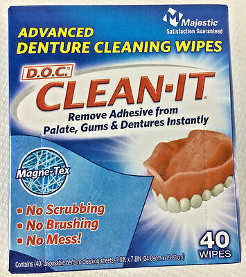 4 Packs D.O.C. CLEAN-IT Advanced Denture Cleaning Wipes  Box 40 Count