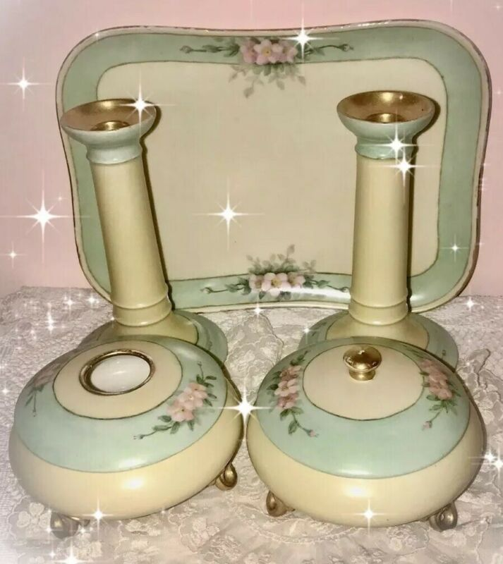 Antique LIMOGES France Set Of CANDLESTICKS~Hair Receiver~Powder Box & TRAY
