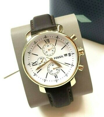 Fossil White Watch Strap (NWT Fossil BQ1009 Men's Brown Leather Strap White Dial Chronograph)