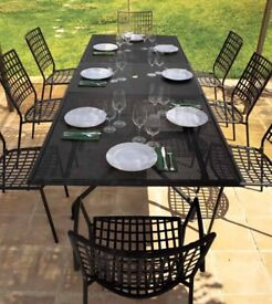 EMU Piano Garden Outdoor Dining Extensible Table and Chairs In Antique Iron