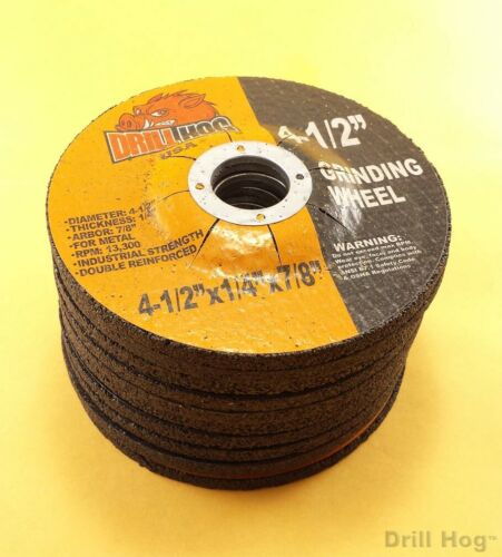 "4-1/2"" Grinding Wheel Fits Dewalt Angle Grinder 4.5""x1/4x7/8 Drill Hog® 10 Pack"