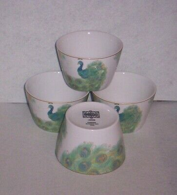 222 Fifth Lakshmi Peacock Teal Small Bowls  Set of 4 NEW  FLAWS