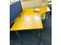 LARGE CURVED OFFICE DESKS ON LEGS - GOOD WORKING CONDITION - £70 EACH
