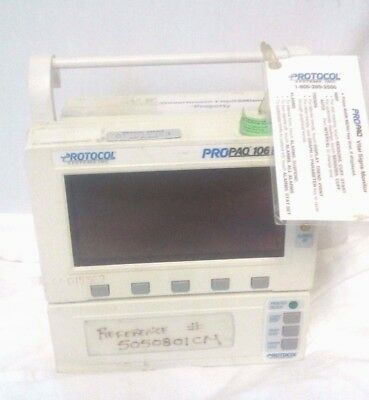 Nellcor Protocol Propaq 100 Series Model 106el Vital Signs Monitor
