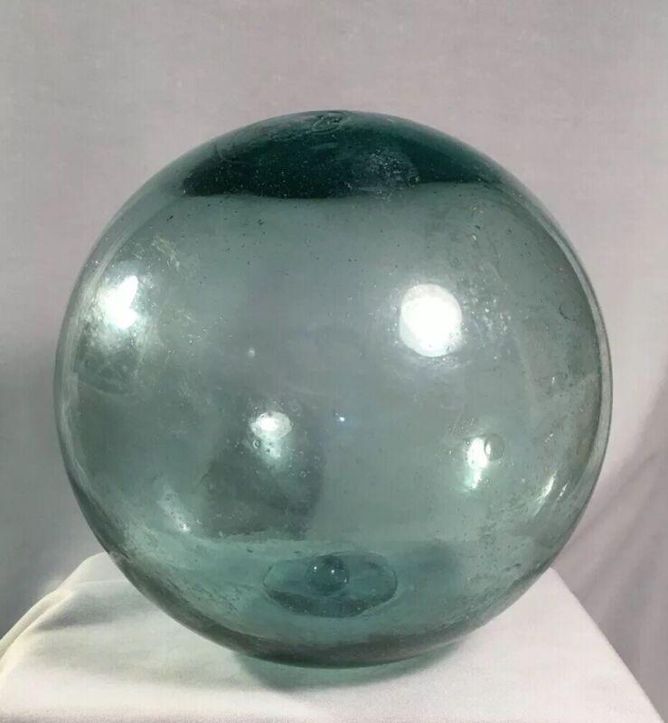 "Vintage Blue Green Japanese Glass Fishing Float - 7"" Diameter"