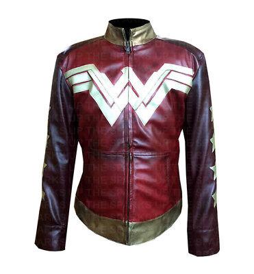 NEW Wonder Woman Famous Cosplay Gal Gadot Stylish Leather Jacket - BEST