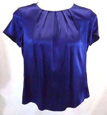 Talbots Womens Shirt Top Blouse Stretch Size 14 100  Blue Silk Short Sleeve Nwt