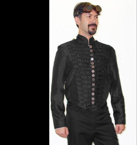 Napoleonic Steampunk BRASS Gear Button BLACK Military Trim Dinner Jacket L