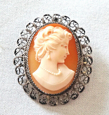 Vintage Cameo Carved Shell  800 Silver Filigree Brooch / Pin / Pendant