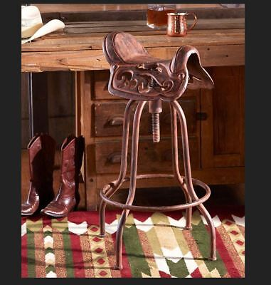 Western Cast Iron Swiveling Horse Saddle Bar Stool Aged Rust Finish - Great Gift for sale  USA