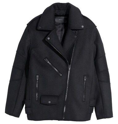 Alexander Wang X H&M - Oversized Black Wool Blend Biker Jacket - UK8 EU34
