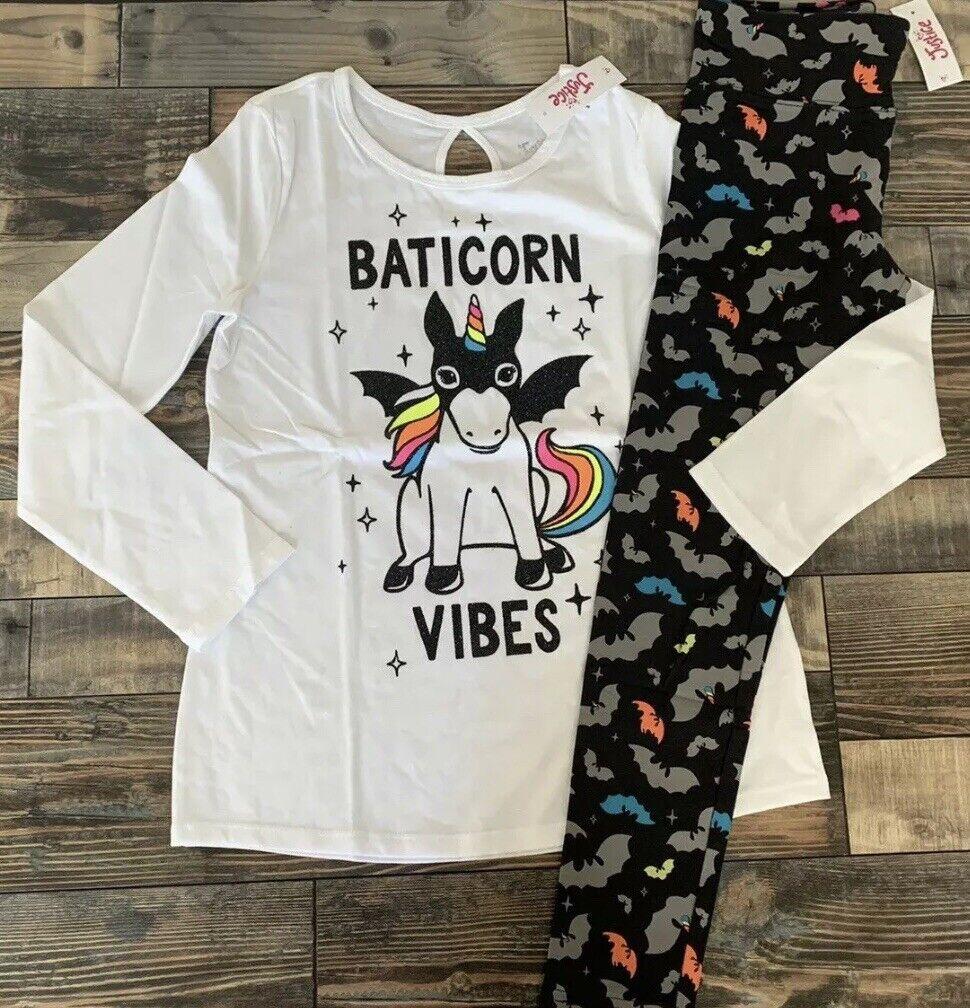 Justice Girls Halloween Bat Unicorn Keyhole Shirt Bat Leggings, 14/16, NWT - $18.99