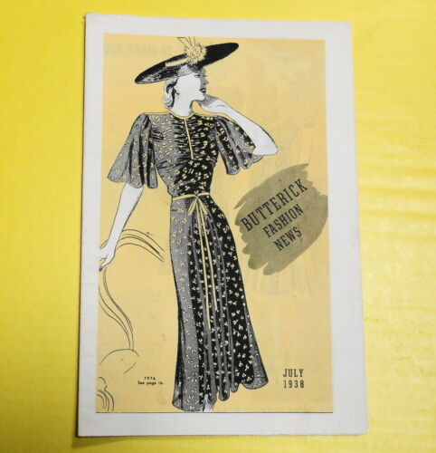 Vintage 1930s Butterick Sewing Patterns Fashion News Magazine/ Booklet-July 1938