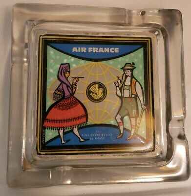 """Vtg Air France J.Colin Advertising Ashtray """"The largest network in the world"""""""