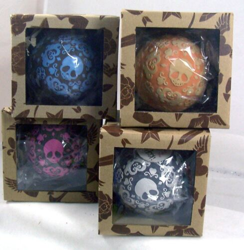 Skull Patterned Design TATTOO Ornaments SET of 4 NEW IN BOX Gothic Classic Art