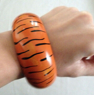 Tiger print painted vintage bangle bracelet orange flinstone pebbles bam bam