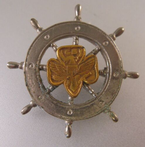 Vintage 1946 - 1963 Girl Scout Mariner Pin Brooch 8 Dimples Ships Wheel