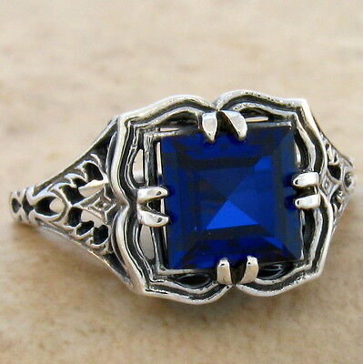 2 CT LAB SAPPHIRE 925 STERLING VINTAGE ANTIQUE DESIGN SILVER RING SIZE 5,   #745