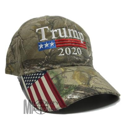 Donald Trump Cap Keep America Great Maga hat President 2020 Flag Real tree xtra