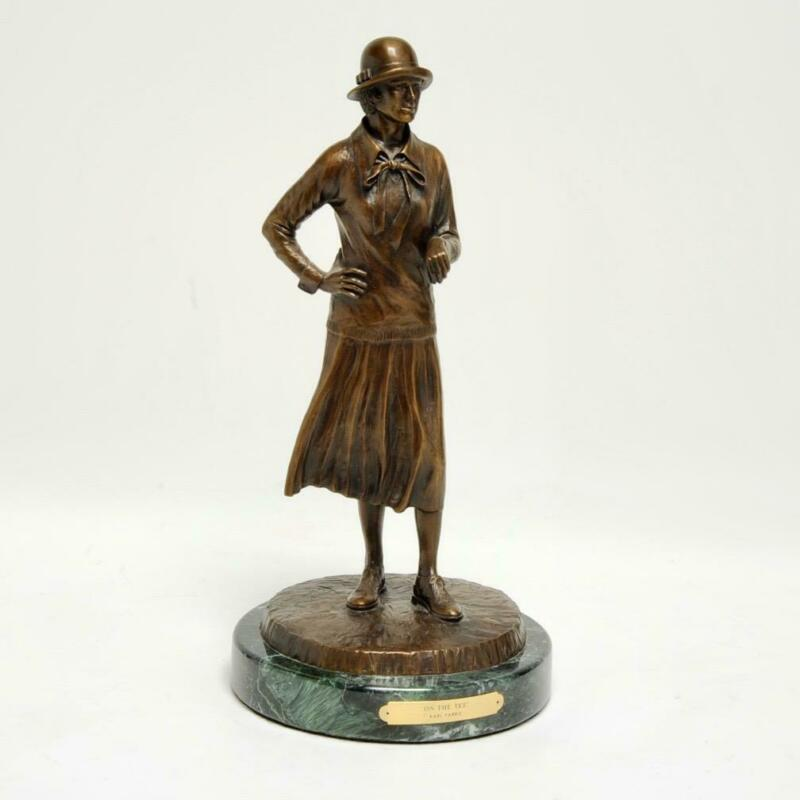 "KARL FARRIS LIMITED ED. #6/150 ""ON THE TEE"" BRONZE SCULPTURE ON MARBLE BASE 16"""