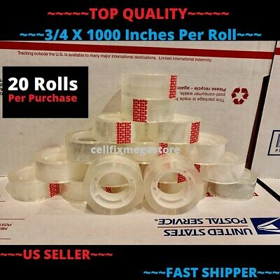 20x Wholesale Lot 34 X 1000 Crystal Clear Transparent Tape Dispenser Refill