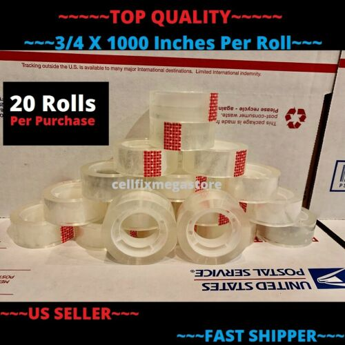 """20x ~WHOLESALE LOT~ 3/4"""" x 1000"""" Crystal Clear Transparent Tape Dispenser Refill"""