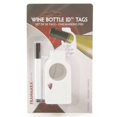 Franmara Reusable Wine Bottle Tags (50 Count) with Dry Erase Marker](Bottle Tags)
