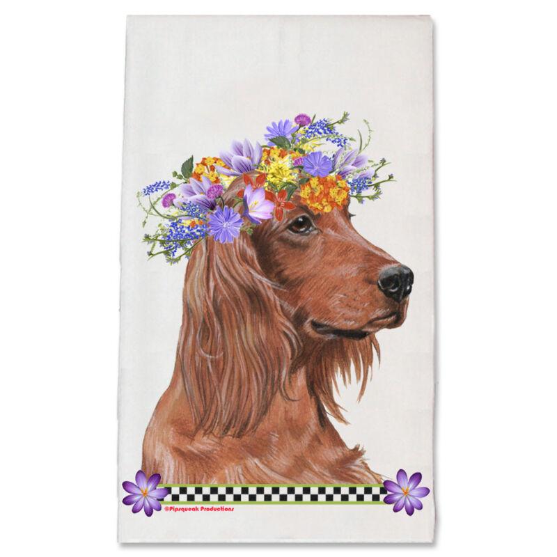 Irish Setter Dog Floral Kitchen Dish Towel Pet Gift