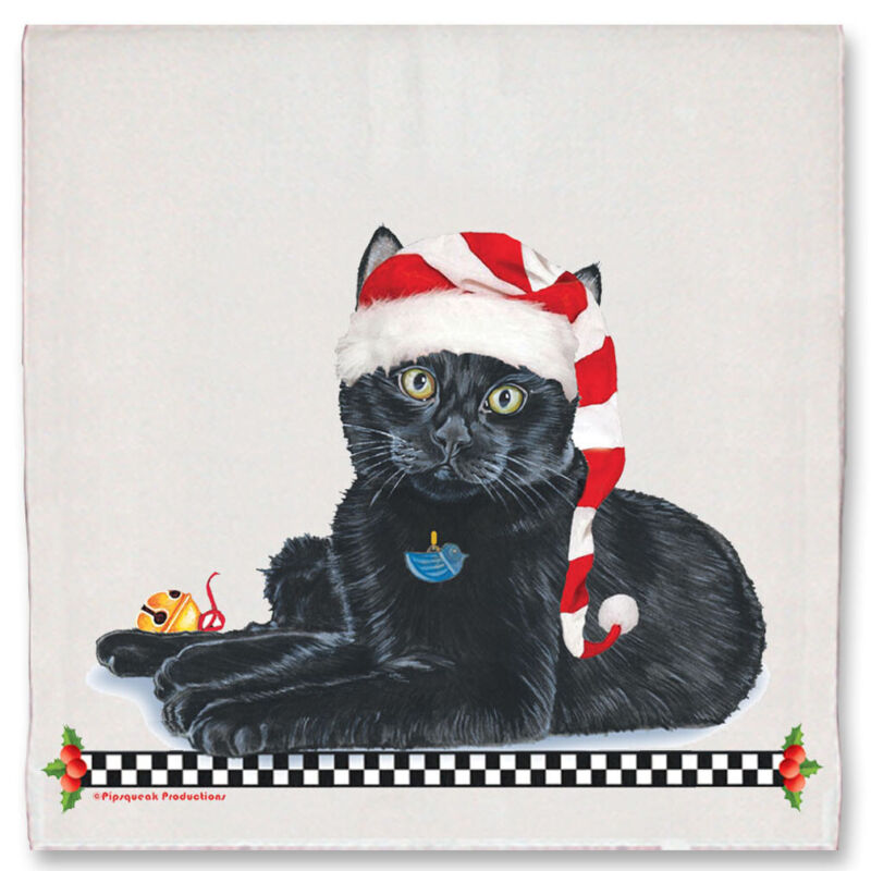 Black Cat Christmas Kitchen Towel Holiday Pet Gifts