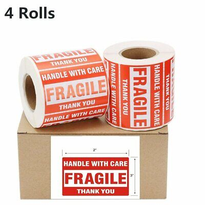 4 Rolls 2x3 Fragile Stickers Handle With Care Thank You Shipping Labels 500roll