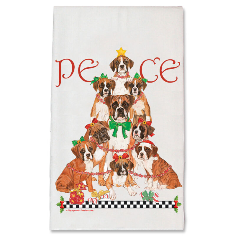 Boxer Peace Tree Christmas Kitchen Towel Holiday Pet Gifts