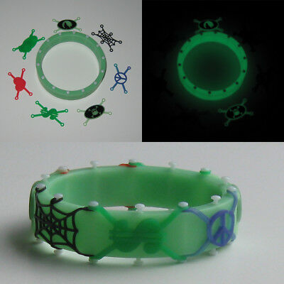 Halloween kids safety and fun bracelet Glow-in-the-dark green, skull and wolf