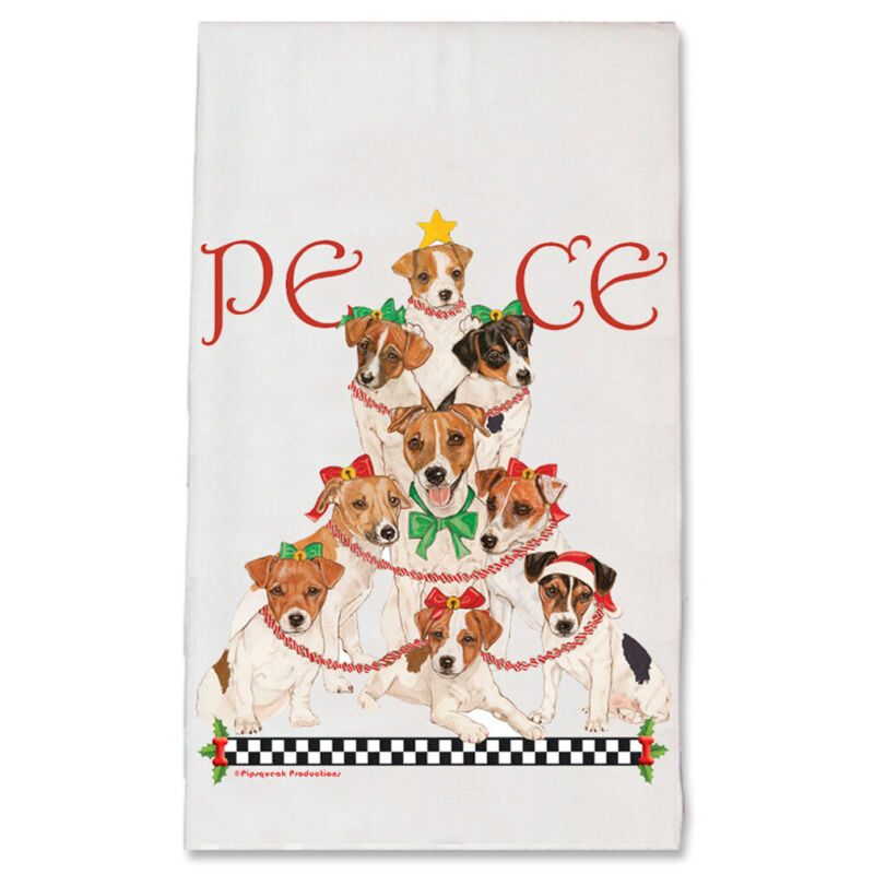 Jack Russell Terrier Peace Tree Christmas Kitchen Towel Holiday Pet Gifts