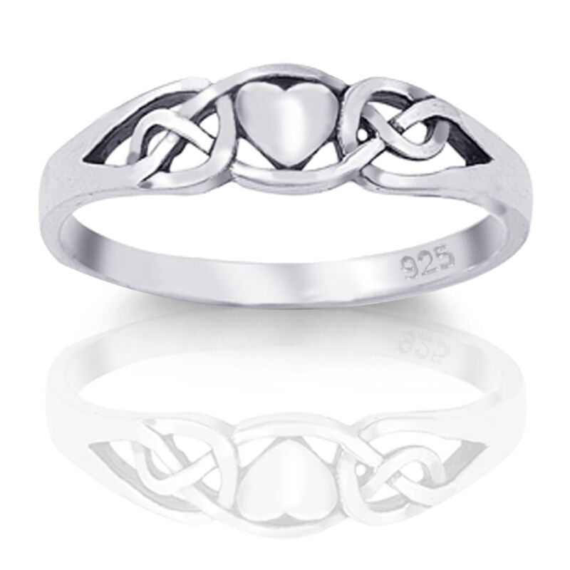 Genuine Sterling Silver Irish Celtic Claddagh Heart Love Ring Size 4 - 10.5