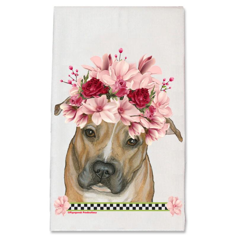 Pit Bull Dog Floral Kitchen Dish Towel Pet Gift