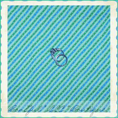 BonEful FABRIC FQ Cotton Quilt Moda Max Nobie Aqua Blue Green Dot Bias Stripe US