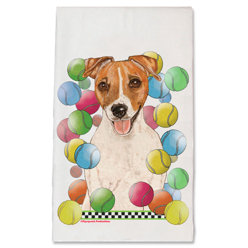 Jack Russell Terrier Tennis Dog Kitchen Dish Towel Pet Gift