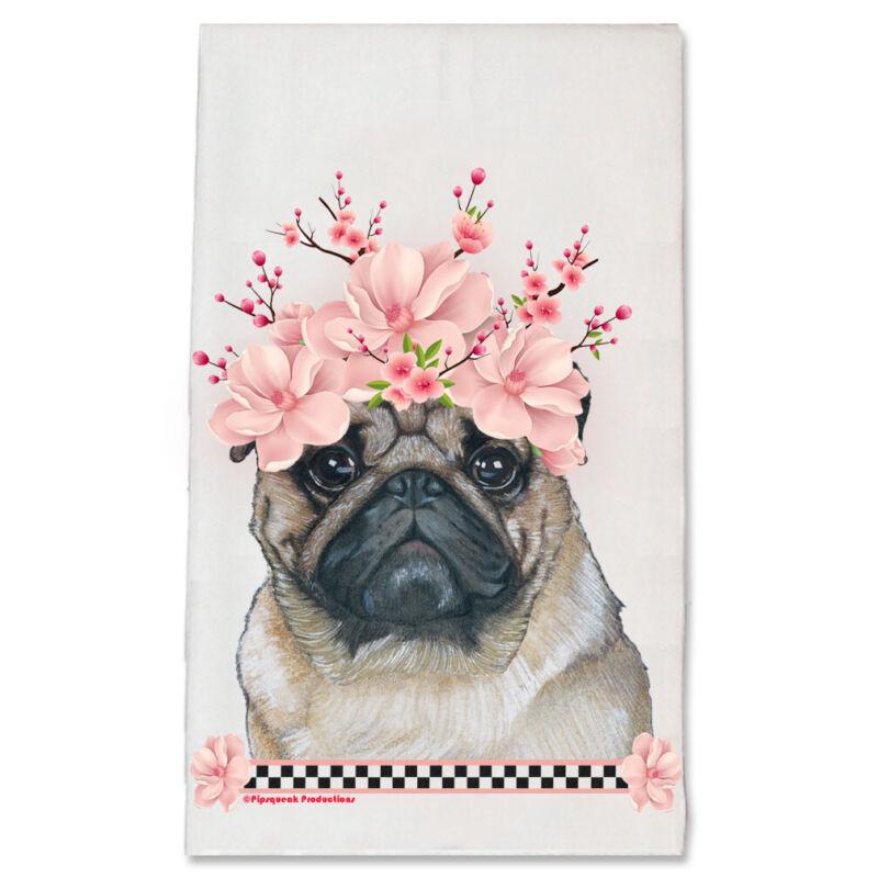 Pug Dog Floral Kitchen Dish Towel Pet Gift