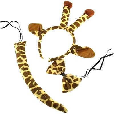 GIRAFFE FANCY DRESS SET EARS HEADBAND TAIL BOW TIE KIT WORLD BOOK DAY - Giraffe Kostüm Kit