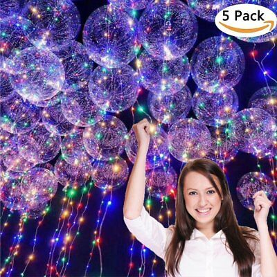 LED  Balloons 5 Pack 18inch Clear Latex Balloons with Copper Wire Led Lights  - Balloon With Led Light