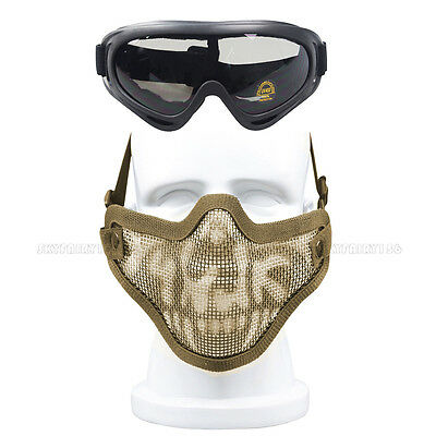 Airsoft Half Face Mask Steel Wire Mesh Tactical Hunting Protective Goggles Set