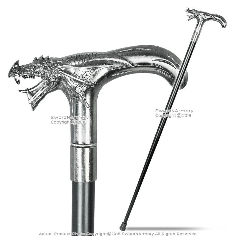 """35"""" Dragon T Shape Cane Head Metal Steel Shaft Gentlemen Walking Cane Stick"""