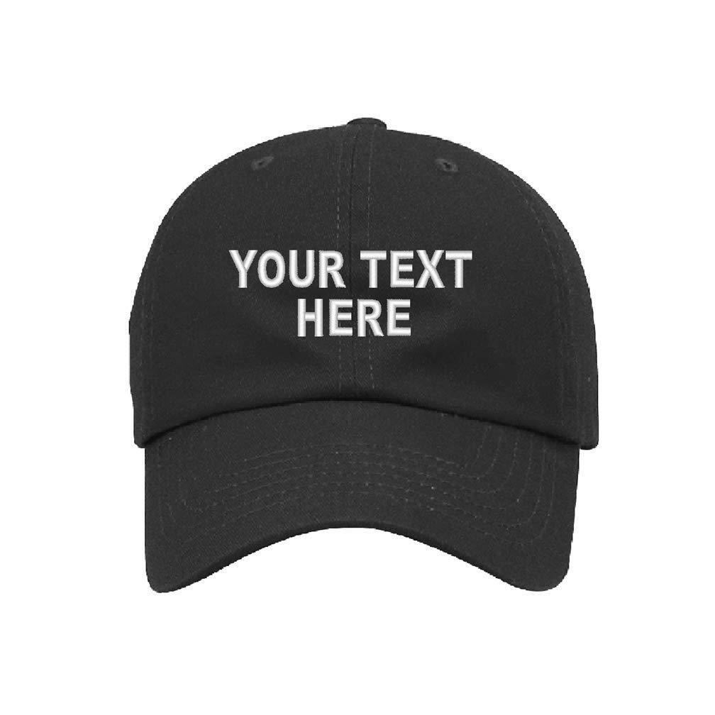 Custom Personalized Embroidered Text on Dad Hat Cap Folded B