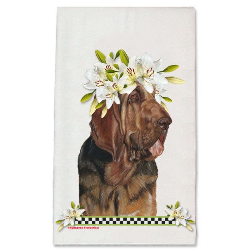 Bloodhound Dog Floral Kitchen Dish Towel Pet Gift