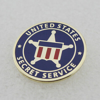 US - USSS - Secret Service Lapel Pin - New - Red/White/Blue - Gold Star